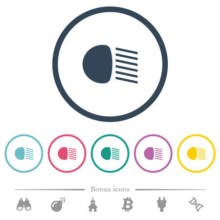 Dipped beam lights flat color icons in round outlines. 6 bonus icons included. Illustration