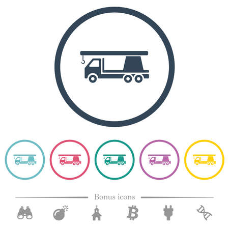 Crane truck flat color icons in round outlines. 6 bonus icons included.