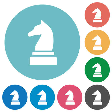Black chess knight flat white icons on round color backgrounds