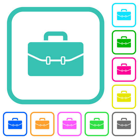 Satchel with two buckles vivid colored flat icons in curved borders on white background Vektorové ilustrace