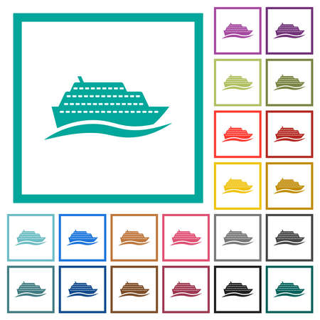 Cruise ship with wave flat color icons with quadrant frames on white background