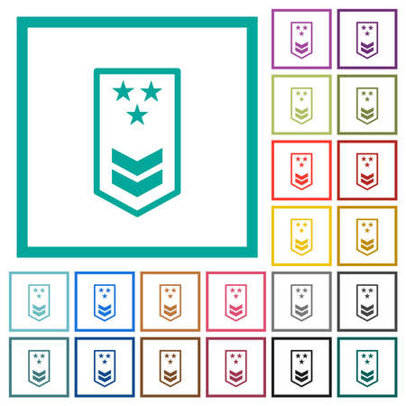Military insignia with two chevrons and three stars flat color icons with quadrant frames on white background Ilustração