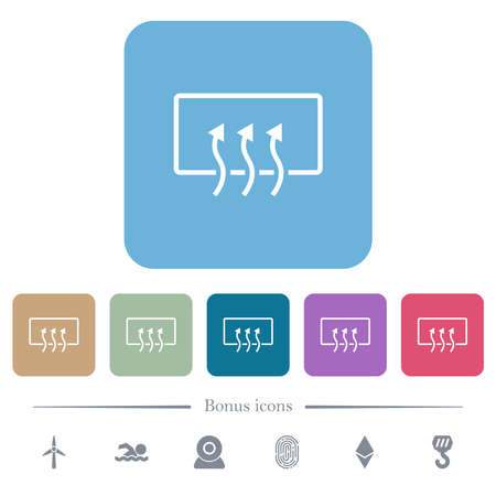 Rear window defrost white flat icons on color rounded square backgrounds. 6 bonus icons included