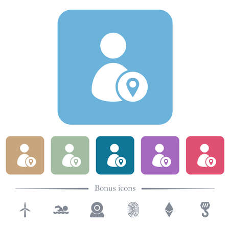 User location white flat icons on color rounded square backgrounds. 6 bonus icons included