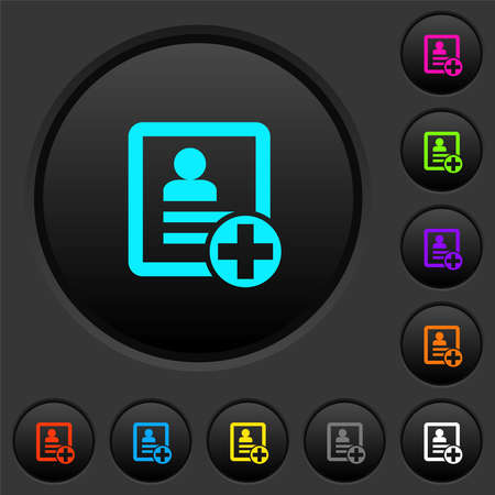 Add new contact dark push buttons with vivid color icons on dark gray background
