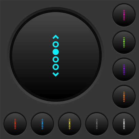 Vertical page navigation dark push buttons with vivid color icons on dark gray background