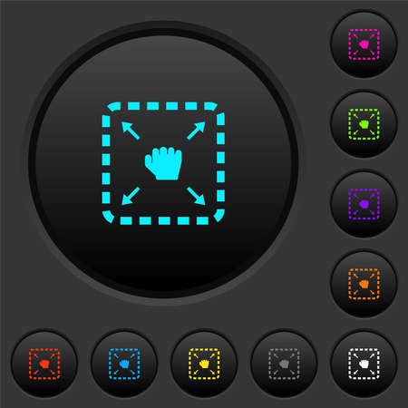 Drag item dark push buttons with vivid color icons on dark gray background