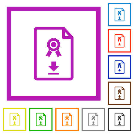 Download certificate flat color icons in square frames on white background
