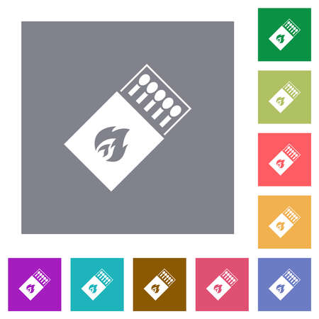 Box of matches flat icons on simple color square backgrounds