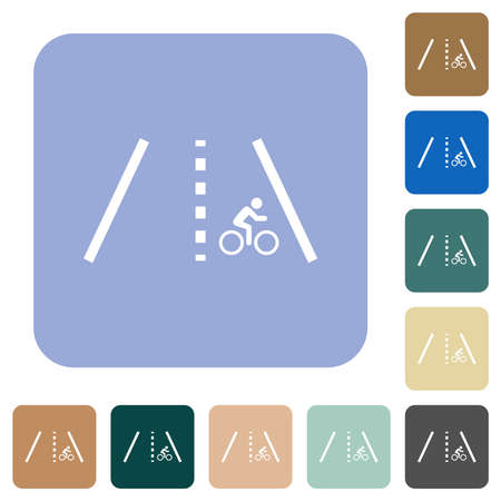 Bicycle lane white flat icons on color rounded square backgrounds Vector Illustration
