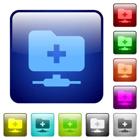 FTP create folder icons in rounded square color glossy button set 向量圖像
