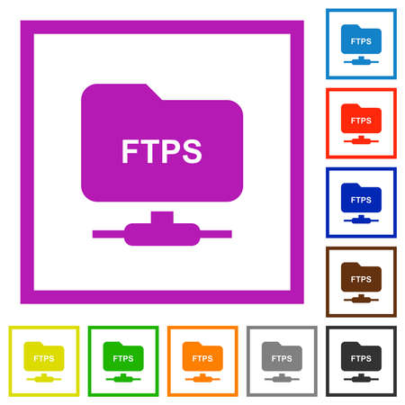 FTP over ssl flat color icons in square frames on white background