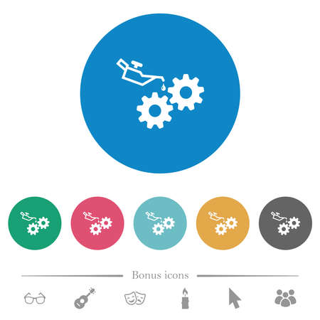 Oiler can and gears flat white icons on round color backgrounds. 6 bonus icons included.