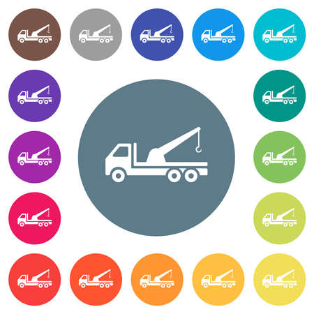 Crane truck flat white icons on round color backgrounds. 17 background color variations are included.