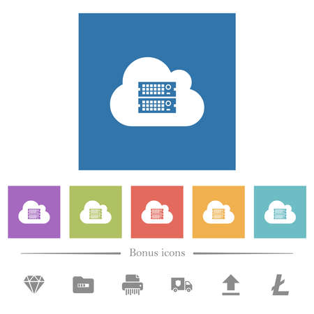 Cloud servers flat white icons in square backgrounds. 6 bonus icons included.