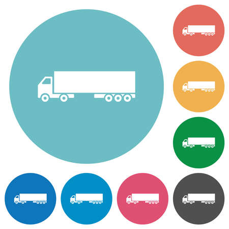 Camion flat white icons on round color backgrounds