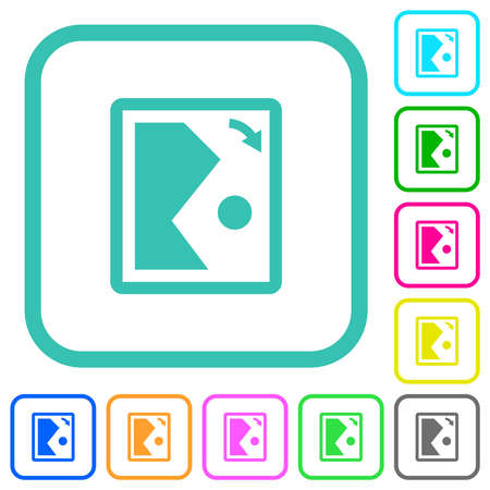 Rotate image right vivid colored flat icons in curved borders on white background