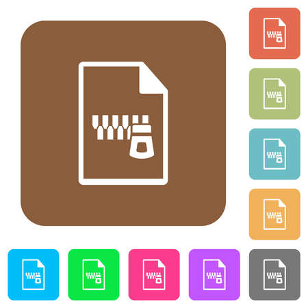 Zipped document flat icons on rounded square vivid color backgrounds.
