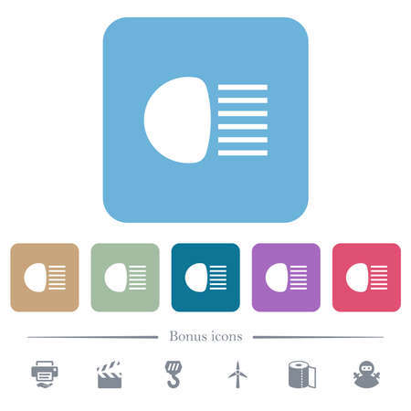 Main beam headlights indicator white flat icons on color rounded square backgrounds. 6 bonus icons included