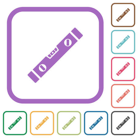 Spirit level simple icons in color rounded square frames on white background