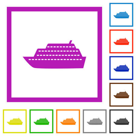 Cruise ship flat color icons in square frames on white background