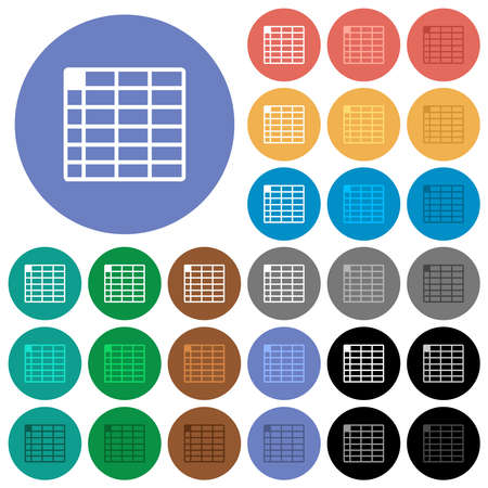 Spreadsheet table with multi colored flat icons on round backgrounds. Includes white, light and dark icon variations for hover and active status effects, and bonus shades. Vektoros illusztráció
