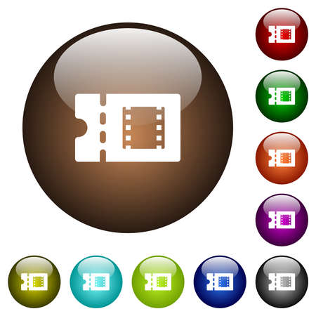 Movie discount coupon white icons on round glass buttons in multiple colors