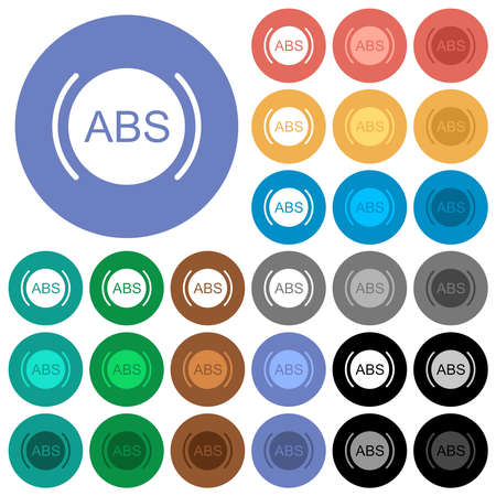 Car anti lock braking system indicator multi colored flat icons on round backgrounds. Includes white, light and dark icon variations for hover and active status effects, and bonus shades.