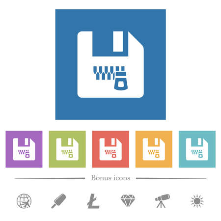 Zipped file flat white icons in square backgrounds. 6 bonus icons included.