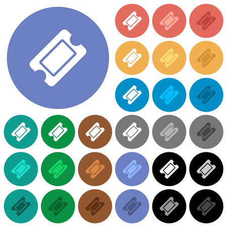 Single ticket multi colored flat icons on round backgrounds. Includes white, light and dark icon variations for hover and active status effects, and bonus shades.