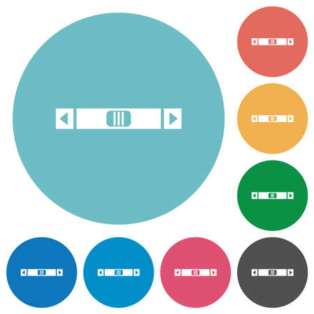 Horizontal scroll bar flat white icons on round color backgrounds
