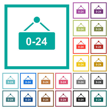 Hanging table with 24 hours flat color icons with quadrant frames on white background Vettoriali