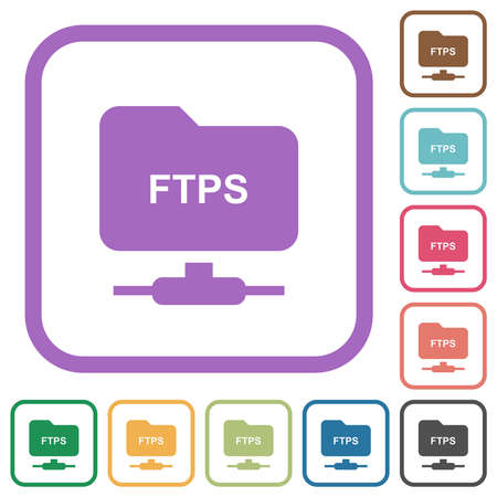 FTP over ssl simple icons in color rounded square frames on white background 向量圖像