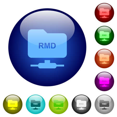 FTP remove directory icons on round glass buttons in multiple colors. Arranged layer structure 向量圖像