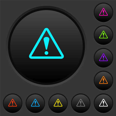 Triangle shaped warning sign with dark push buttons with vivid color icons on dark gray background