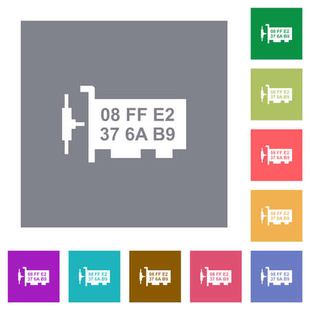 Network mac address flat icons on simple color square backgrounds