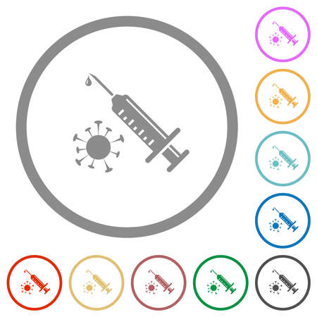 Antiviral injection flat color icons in round outlines on white background Stock fotó - 154890615