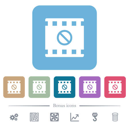 Movie disabled white flat icons on color rounded square backgrounds. 6 bonus icons included