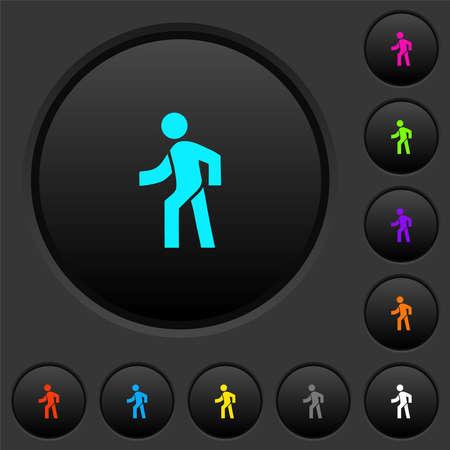 Man walking left dark push buttons with vivid color icons on dark gray background Illusztráció