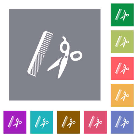 Comb and scissors flat icons on simple color square backgrounds Çizim