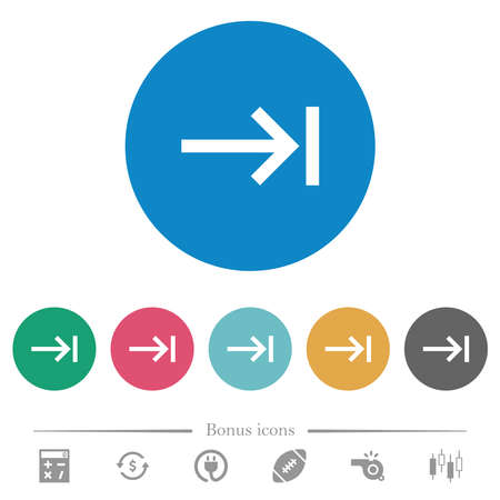 Keyboard tab flat white icons on round color backgrounds. 6 bonus icons included.