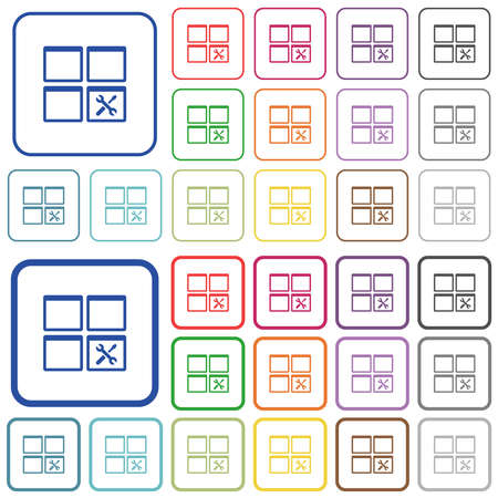 Dashboard tools color flat icons in rounded square frames. Thin and thick versions included.