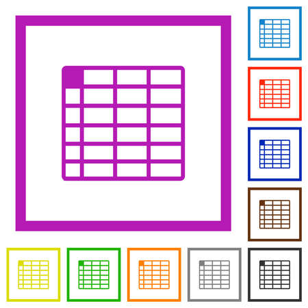 Spreadsheet table with flat color icons in square frames on white background