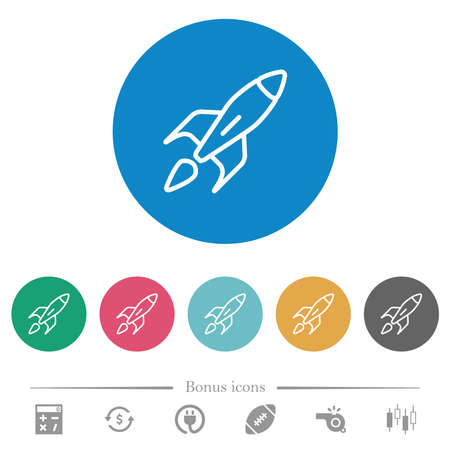Rocket flat white icons on round color backgrounds. 6 bonus icons included. Ilustración de vector