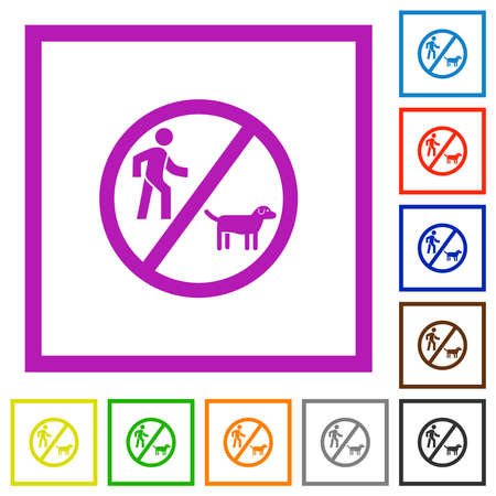 No dog walking flat color icons in square frames on white background Illustration
