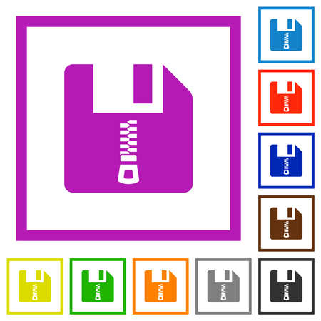 Compressed file flat color icons in square frames on white background