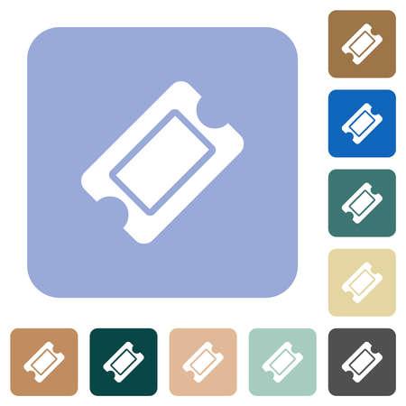 Single ticket white flat icons on color rounded square backgrounds. 6 bonus icons included Illusztráció