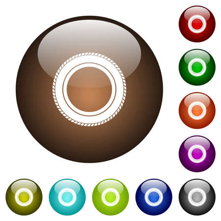 Car tire white icons on round glass buttons in multiple colors Vettoriali