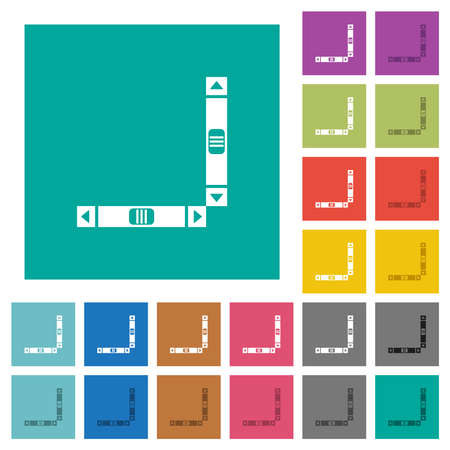 Vertical and horizontal scroll bars multi colored flat icons on plain square backgrounds. Included white and darker icon variations for hover or active effects. Vektorové ilustrace
