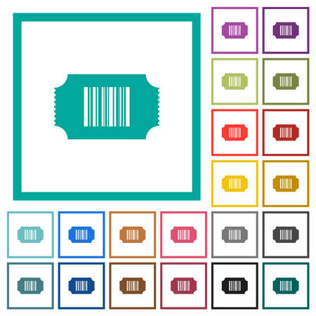 Ticket with barcode flat color icons with quadrant frames on white background
